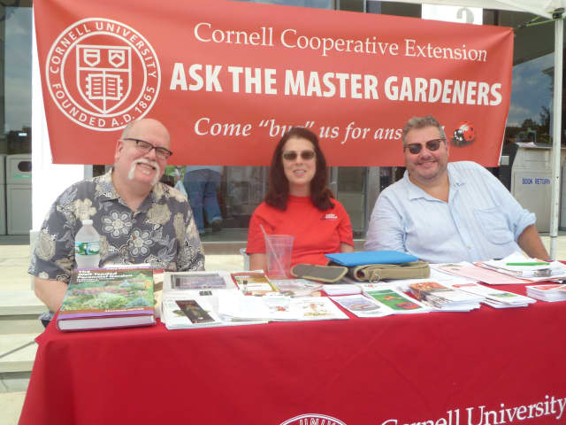 From left, Master Gardeners Mark Gilliland, Pat McDonald and Peter Lee Waczek guide other gardeners at the Hastings Farmers Market.