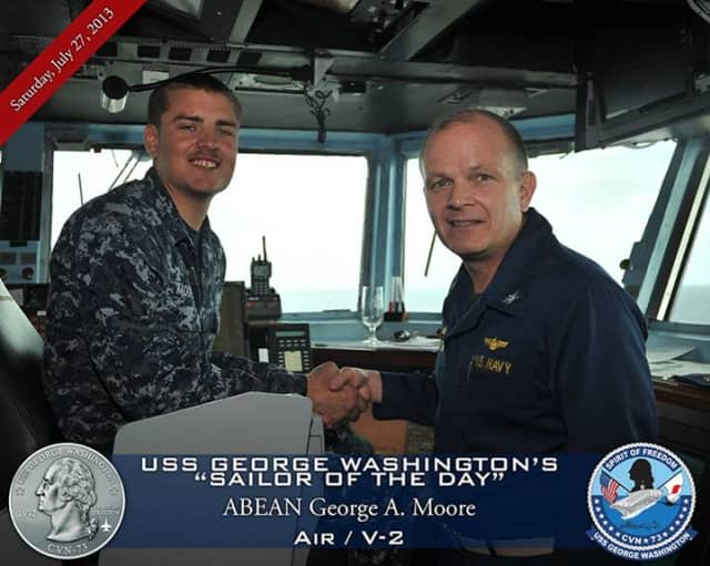Hastings George Moore is stationed on the U.S.S. George Washington in Japan.