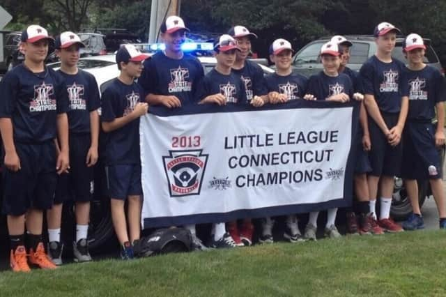 Westport Little League baseball players get ready to depart for Bristol on Thursday.