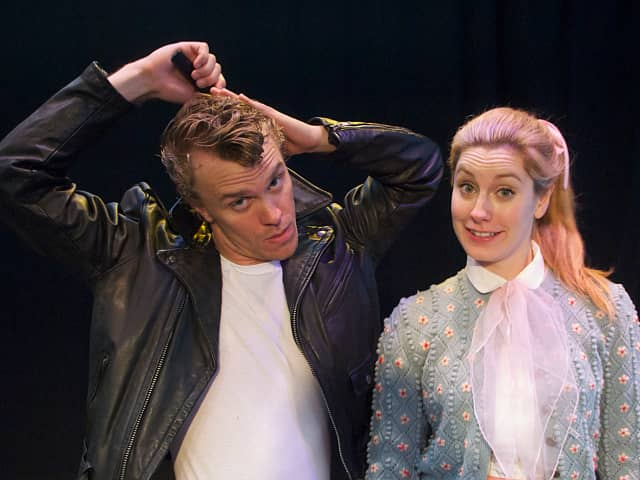 """Christian Libonati (Danny Zuko) and Sharon Malane (Sandy Dumbrowski) in the Summer Theatre of New Canaan's production of """"Grease"""". Now Through August 11 at Waveny Park."""