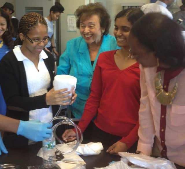 Rep. Nita Lowey toured Mercy College's Step Up to STEM summer camp