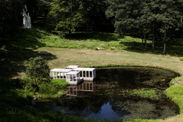 No. 7: The Pavilion's size really messes with your brain. Philip Johnson loved to play with perspective and size across his property. The pond's Pavilion, for example, is only 6 feet tall and looks even smaller in this image.