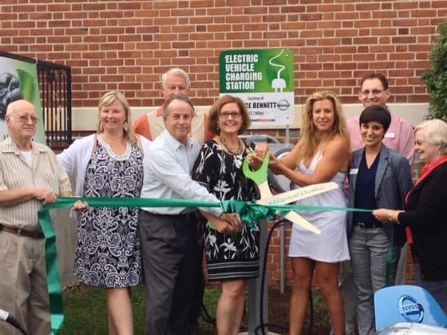 The new Nissan LEAF charging station at the Ridgefield Playhouse is open.