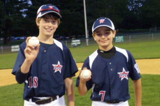 Harry Azadian, left, and Chris Drbal combined to throw a no-hitter for Westport during a game last summer. Both players are part of this summer's team that plays for the New England championship Saturday in Bristol.