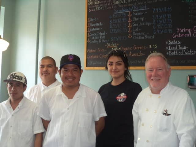 The staff at Seahouse Shack in Pleasantville.  l to r:  Eduin Solis, Hermino Aguilar, Roberto Contreras, Alev Berlat, Phil McGrath