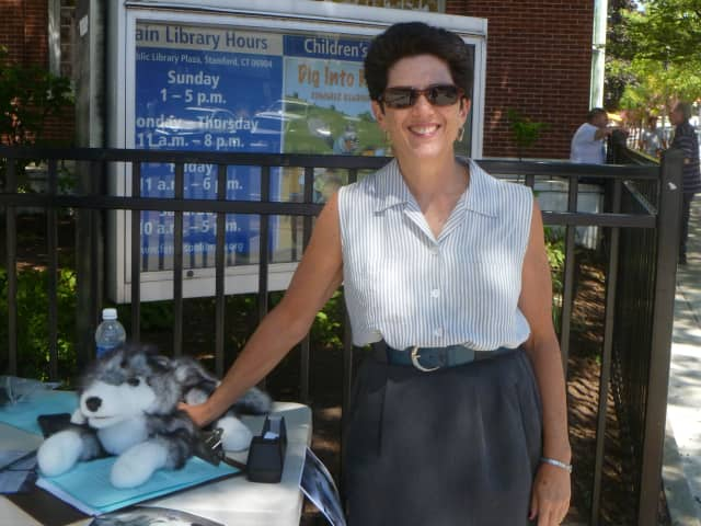 Kate Heichler was in Stamford with her wolf puppet trying to gain signatures in support of keeping the gray wolf on the endangered species list.