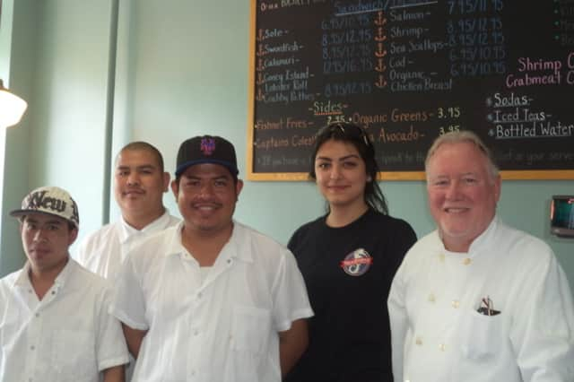 The staff at Seahouse Shack in Pleasantville, from left, Eduin Solis, Hermino Aguilar, Roberto Contreras, Alev Berlat and Phil McGrath