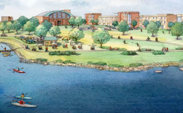 A proposed rendering of the Echo Bay Waterfront development project.