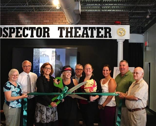 Dee Strilowich, First Selectman Rudy Marconi, Chanber Executive Director Marion Roth, Prospector owner Valerie Jensen, Andrew Tedder, Rebecca Ciota, Emily Pambianchi, David Choplinski, and Joe Strilowich  at the ribbon-cutting.