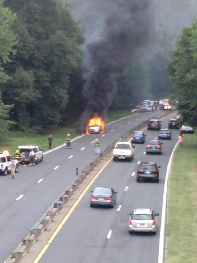 A multi-car accident and car fire was reported on the southbound Saw Mill River Parkway in Hastings-on-Hudson.