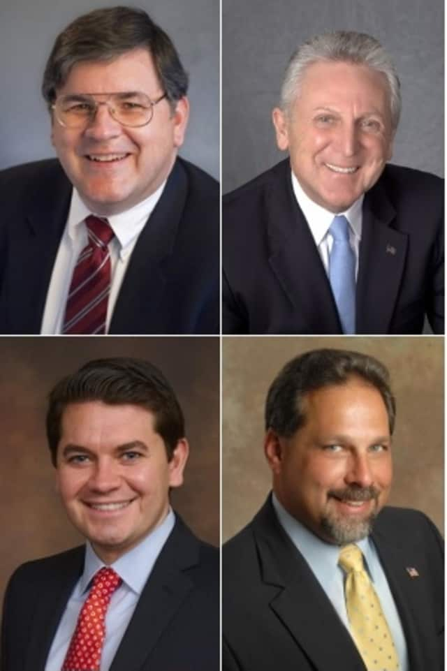Clockwise, from top left: Matt Miklave, Harry Rilling, Andy Garfunkel and Vinny Mangiacopra all hope to win the Democratic Party's nomination for the Norwalk mayor's race in  a primary next month.