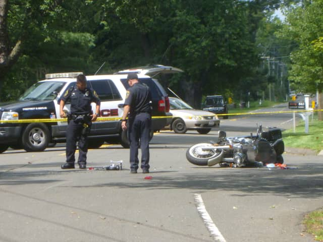 Police officers were on scene investigating a motorcycle crash at the intersection of Country Club Road and Oenoke Ridge in New Canaan.