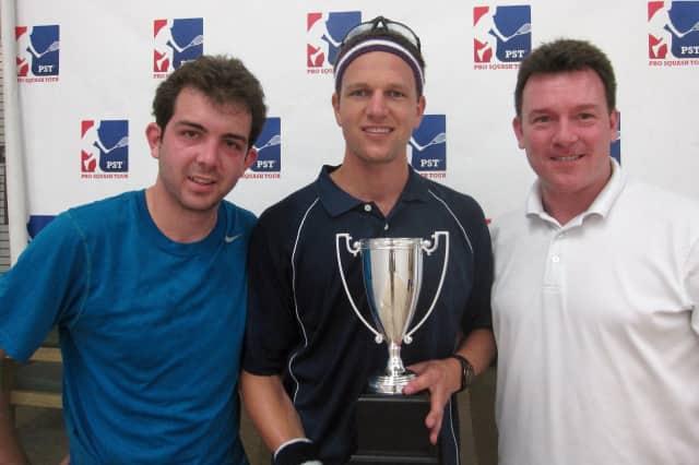 From left, Ricky Weisskopf, tournament winner Tertius Raubenheimer and PST Commissioner Joe McManus