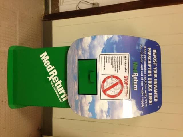 The new prescription drop box allows citizens to anonymously drop off unused medications.