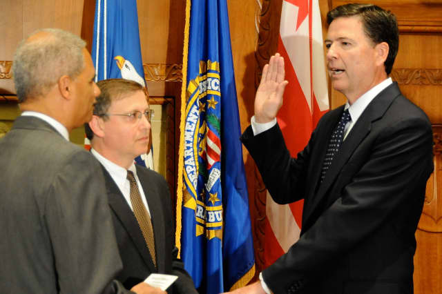 Westport resident and Yonkers native James B. Comey is sworn in as director of the FBI.