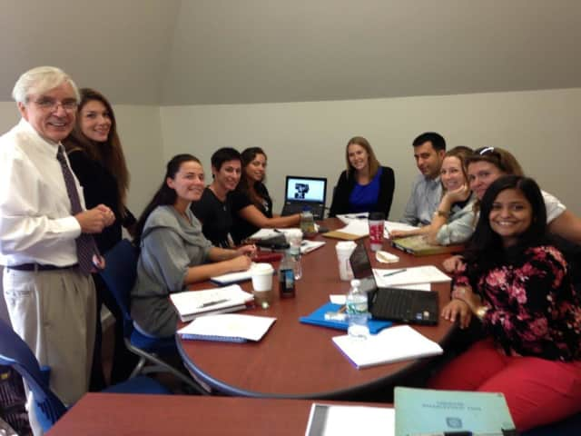 Pace Professor Ross Robak, Ph.D., and students in the university's new mental health counseling Ph.D. program.