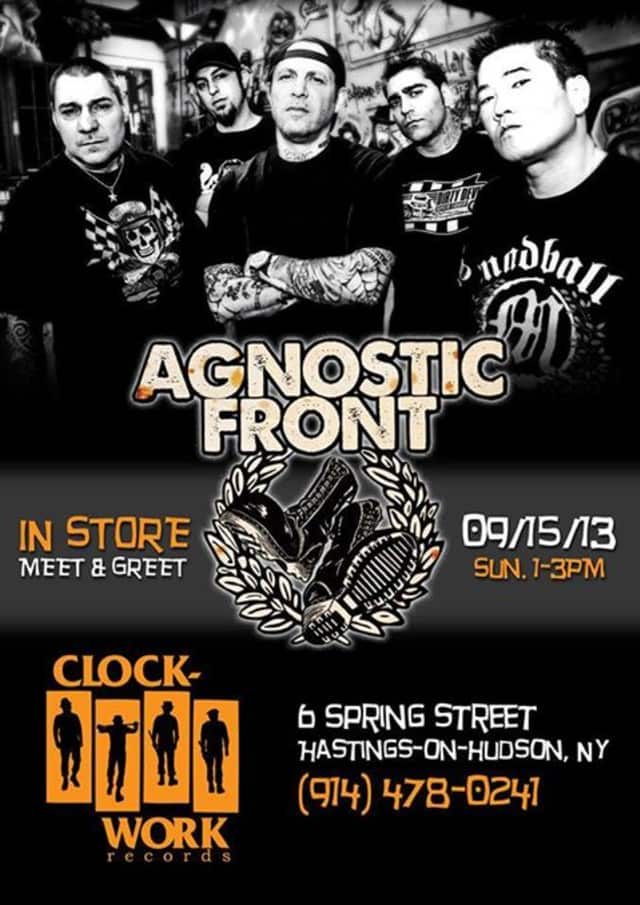 Punk rockers Agnostic Front will visit Hastings' Clockwork Records on Sunday.