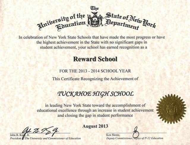 The certificate that was awarded to Tuckahoe High School.