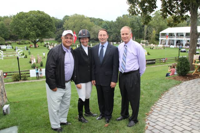 County Executive Robert Astorino, along with Kamran Hakim of Old Salem Farm, rider Brianne Goutal and Michael Morrissey of Stadium Jumping Inc. were on hand at the 43rd annual American Gold Cup.