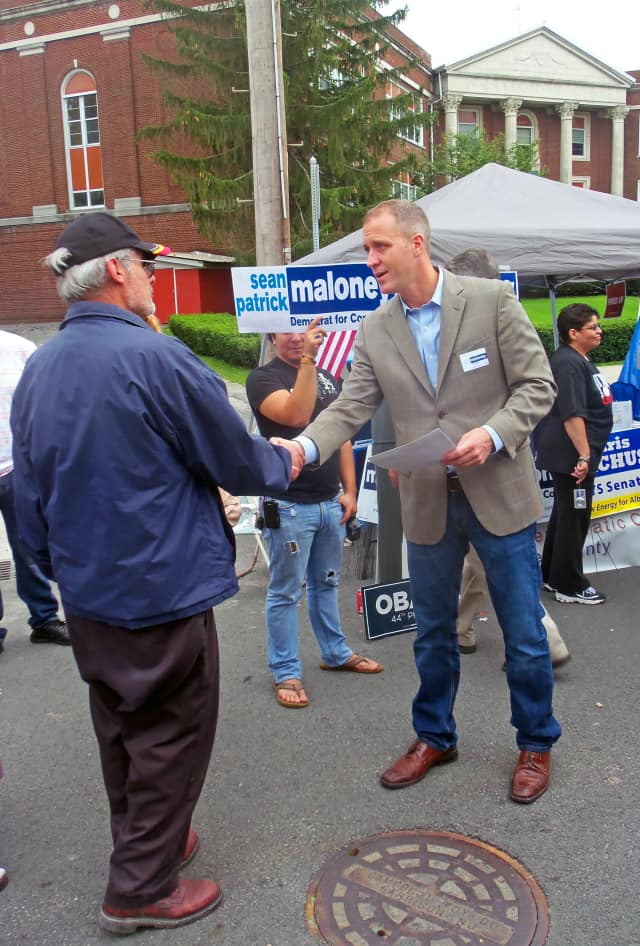 Rep. Sean Patrick Maloney speaks to a voter.