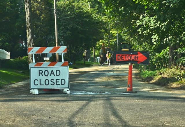 Road work on Route 58 near Redding is under way.