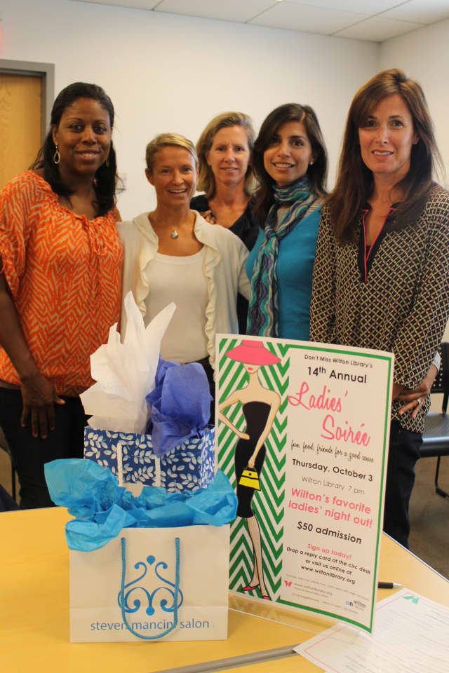 Organizers for Wilton Library's 14th Annual Ladies' Soirée fundraiser finalize plans for the Oct. 3rd event. From left are Priscilla Thors, Lelei Coyle, Kari Roberts, Nalini Hage and Caitlin Walsh.