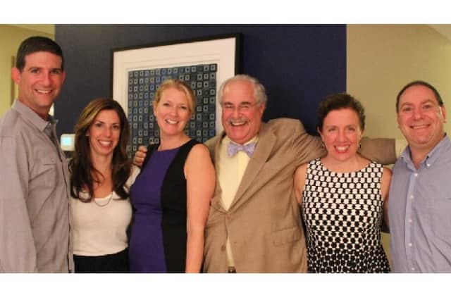 From left, fund-raiser hosts Rob and Liz Ades meet Democratic candidates  Ali Boak for Town Supervisor, Ira Clair for Town Justice, Sherene De Palma and Dan Paschkes, both for Town Board at Casino Night.