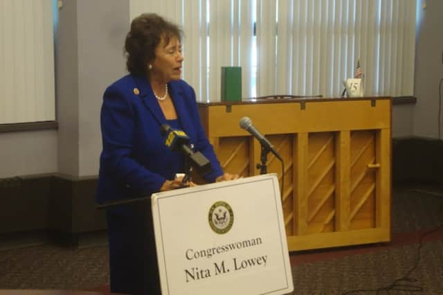 U.S. Rep. Nita Lowey at a Port Chester meeting where she criticized attempts to de-fund the Affordable Care Act.