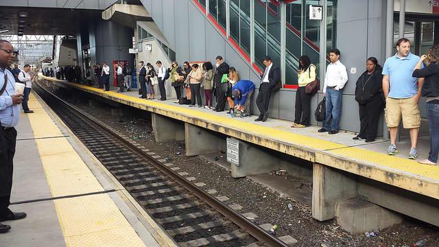 Metro-North commuters line the Stamford train platform.