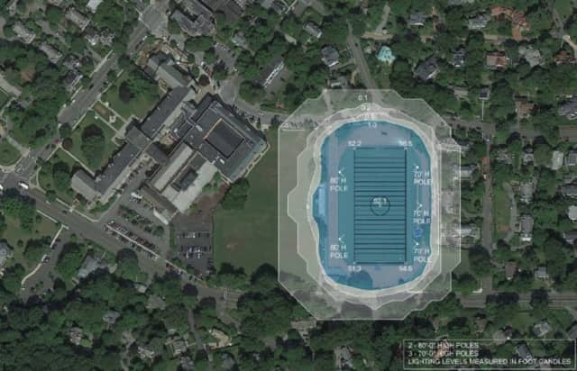 Photo shows where the proposed lights would be erected at Chambers Field in Bronxville.