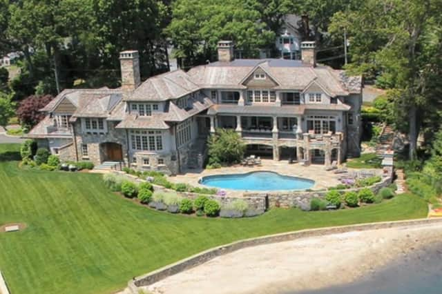 A view of a home offered by Halstead Property captured by a drone.