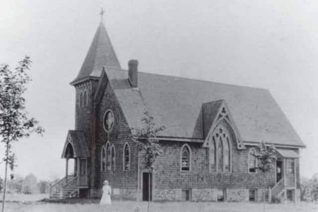 St. Paul's Chapel as it appeared in 1899 on land donated by John Lewis.