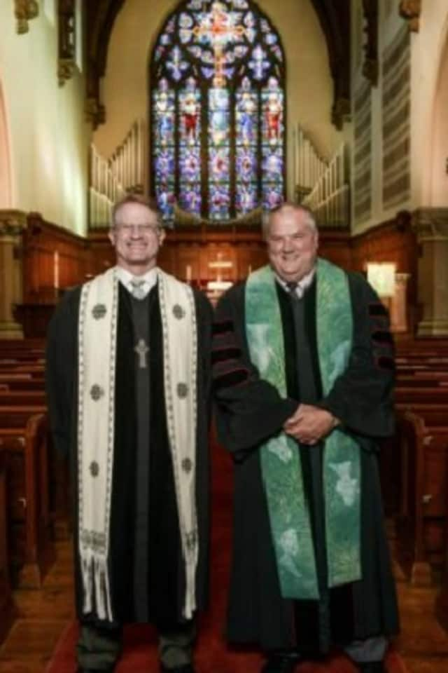 The Revs. Dan Love, left, and John Miller were recently selected as the new co-pastors of Rye Presbyterian Church.