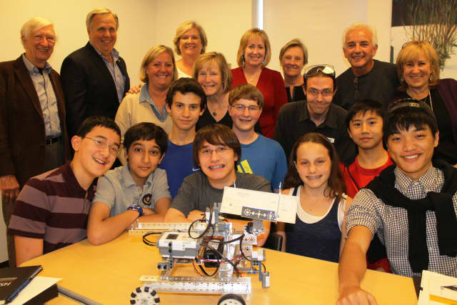 The Wilton Library's Robotics Team recently received a donation from sponsor Realty Seven.