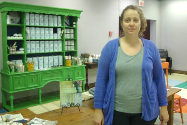 Daniella Toth Farkas of Junktique Recycling in Rye says their line of paint products can make old antiques look modern.