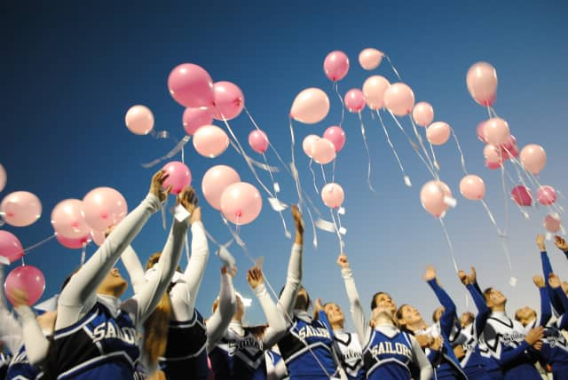 The Hendrick Hudson Cheerleaders, pictured here in 2011, helped kick off the Leo's Stay Awake a Thon by releasing pink balloons in honor of Breast Cancer Awareness Month.