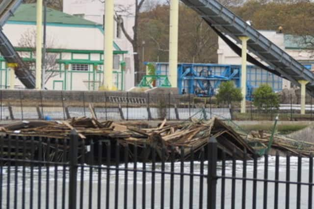 Hurricane Sandy destroyed large portions of the boardwalk at Rye Playland, where some work still needs to be completed.