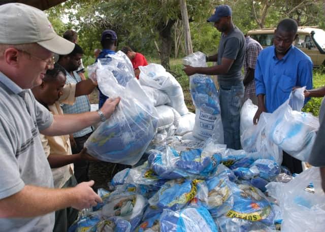 Volunteers in Yonkers prepare medical supplies for shipment overseas.