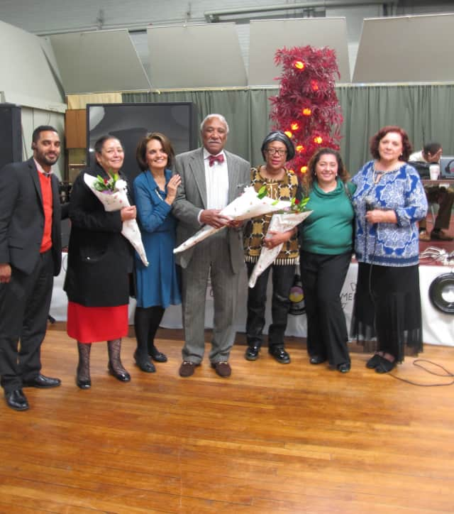 "Organizers gather at the ""Oldies But Goodies"" dance including (from left) Jason Cabassa, Denise Branch, Geraldine Christiana, Mount Vernon Mayor Ernest Davis, Renee Davis, Odette Peralta and Marciana Z. Roger."