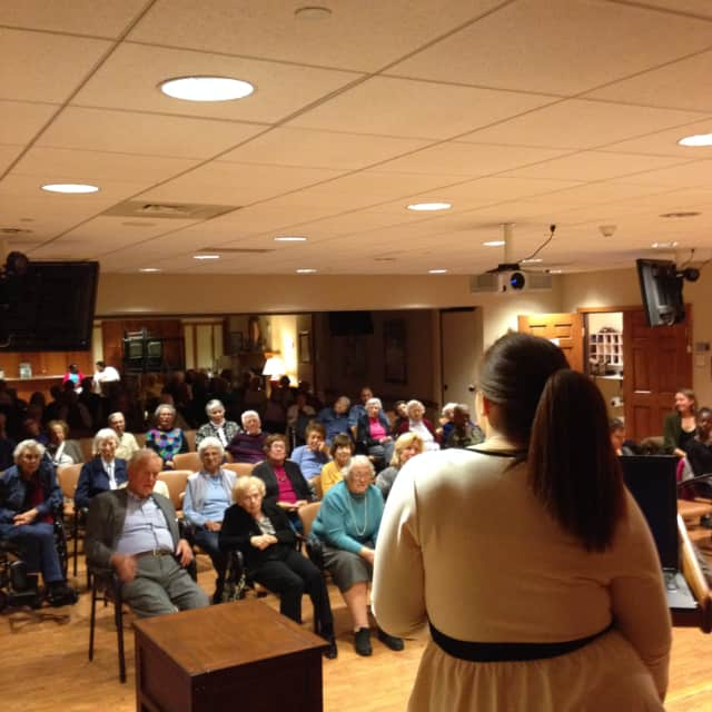 Two Ossining students presented their research findings to the residents at Kendal on Hudson.