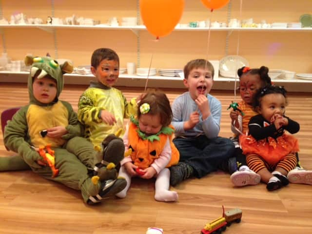 Children celebrate Halloween at Plaster Palace.