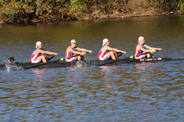 Wilton's Lyon coxes Blake (2nd from left) and teammates from Darien and Ridgefield in the boys four (under 17) to win bronze at the Head of the Schuylkill.