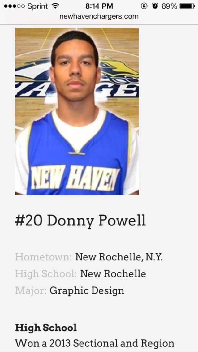 New Rochelle grad Donny Powell is member of the University of New Haven men's basketball team this winter.