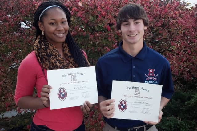 Elmsford's Ariana Weaver, left, and Pleasantville's Christian Artuso were named Athletes of the Month at The Harvey School for October.