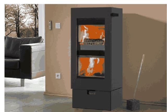 The Twinfire SOLO woodburning stove has 93 percent efficiency in heat output and includes a double-chambered burn system.