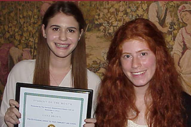 "Liana Brown, left, and Brittany Wolfe were named Harrison-Mamaroneck Rotary Club ""Students of the Month"" for November."