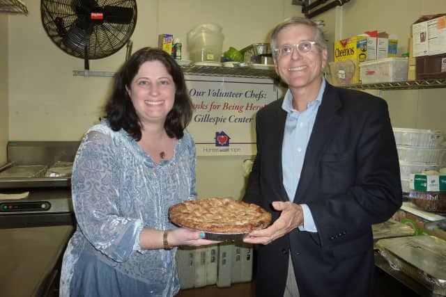 Michelle Saunders and Jeff Wieser promote this year's Share the Pie fundraiser, organized by the Conservative Synagogue of Westport, Weston and Wilton.
