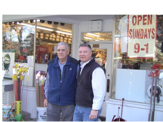 Joe DiPietro Sr., left, and Joe DiPietro Jr. own Chubby's Hardware in Pound Ridge.
