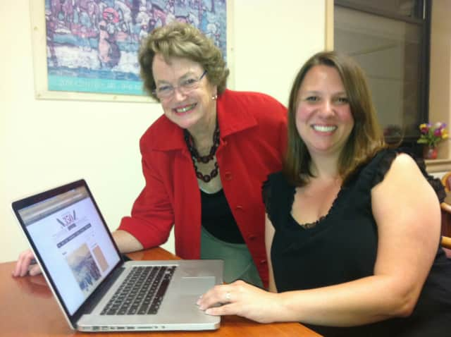 The Town of Eastchester has launched its new website. Pictured at Town Hall, from left to right are Jennifer Frost, who helped develop the site and Patty Dohrenwend, a member of the anniversary celebration Steering Committee.