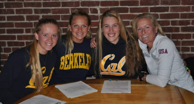 Darien rowers (left to right) Kendra Shutts, Katie DeHaas and Juliet Ruhe will continue their rowing careers at Cal. They are shown with Connecticut Boat Club coach Liz Trond.